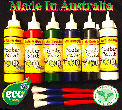 Kids Paint Set School Paints 6x250ml Poster Paint  Kids Craft Paint +3 Brushes