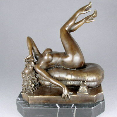 Bronze Nude Lady On Marble Base - By Bruno Zach