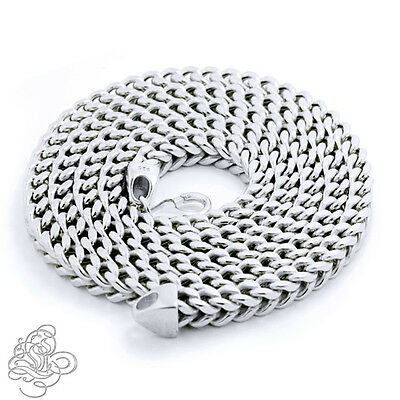 Mens Solid Franco Chain Necklace 925 Sterling Silver Italy Made Multiple Sizes