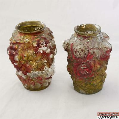 """Lot-2 Match Puffy Grapes and Flowers Gold Red Goofus Glass Vase Antique 1920s 7"""""""