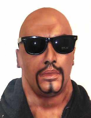 Realistic Latex Mask Black Male Man Disguise Halloween Fancy Dress Goatee Beard