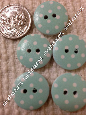 5 x WOODEN BUTTONS with SKY BLUE DALMATIAN DESIGN - 19mm  - #B711
