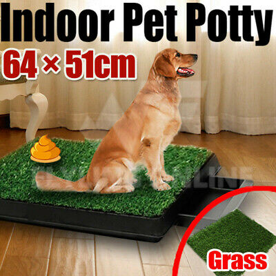 Indoor Dog Pet Potty Training Portable Toilet Large Loo Pad Tray 2 Grass Mat New