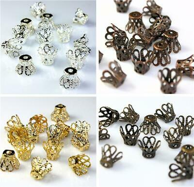 100 / 50 FILIGREE CONE BEAD CAPS 9mm x 7mm COLOUR CHOICE