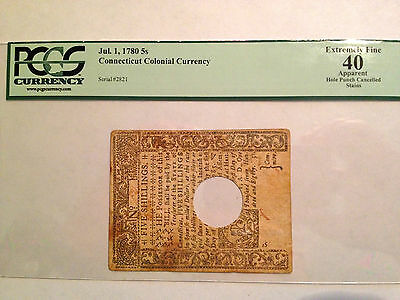 Pcgs Xf40 1780 Five Shillings Connecticut Colonial Currency  Hole Punch Cancell