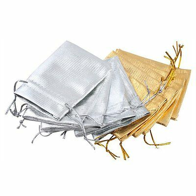 Lot of 100/50 Gold Silver Stain Organza Jewelry Gift Wedding Favors Bags Pouch
