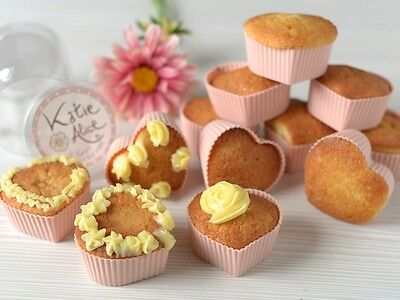 Set of 12 KATIE ALICE Cottage Flower PINK HEART Silcone CUPCAKE CASES