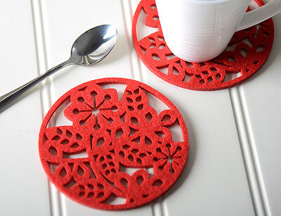 Set of 4 RED FELT Laser Cut Out COASTERS by Creative Tops