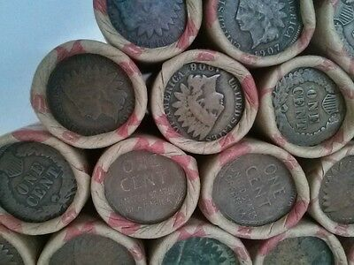 1 Shotgun  Roll Of  Wheat Cent Pennies With Indian Head Cent On End 1909-1958