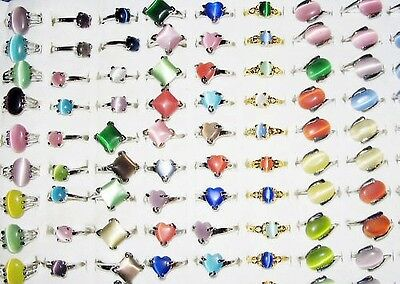 15 Pieces Cats Eyes Rings Assorted Shapes,sizes & Colours - All New - Free Pouch