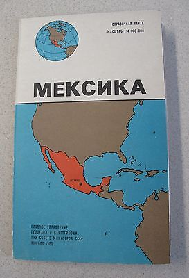 Russian Vintage Map Mexico 1980 Puebla Tampico Guadalupe 1980 Карта Мексика