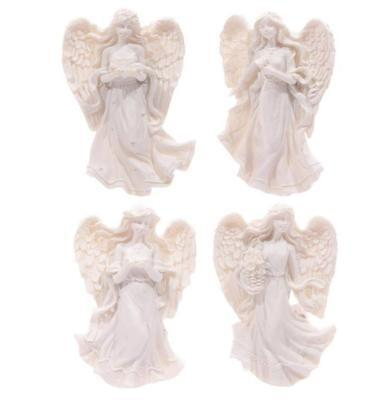 NEW SET OF 4 WHITE ANGEL FIGURINE MAGNETS 7cm ANG113
