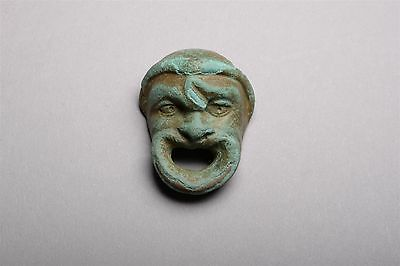 Ancient Roman Bronze Mount Actor's Mask of a Leading Slave - 50 BC