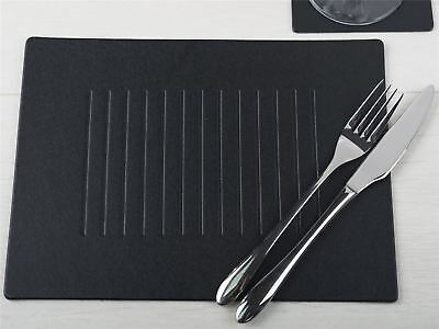 Set of 4 BLACK EMBOSSED Leatherboard PLACEMATS