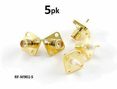 5-Pack SMA Female Bulkhead Panel Mount Gold Connector RF Adapters - RF-M901-5