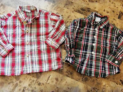 2 baby boys DRESS SHIRTS holiday COLLARED BUTTON DOWN PLAID red white 12 MONTHS