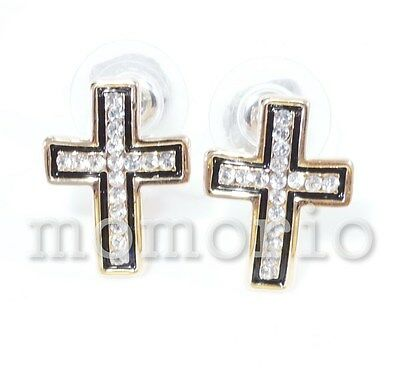 yellow gold plated hip hop cross black rim crystal studs earrings unisex clear