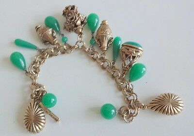 Vtg  Art Deco Chinese Peking Glass Gold Tone Charms Tear Drops Fob Bracelet