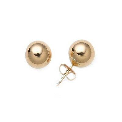 14kt Solid Yellow Gold Stud Earrings Polished Ball Bead Studs 14k 14 kt