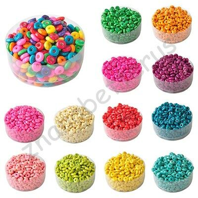400 Pcs Nice Colorful Rondelle Wood Spacer Loose Beads Charms Accessories 6 mm