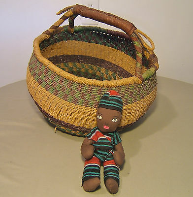 Vintage African Tribal Art, Hand Woven Basket and Small Doll