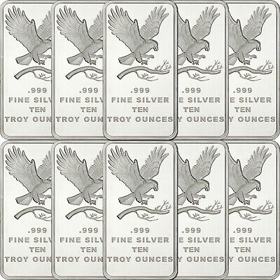 Trademark Eagle 10oz .999 Fine Silver Bar by SilverTowne LOT OF 10