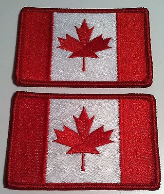 2 Canada Flag Embroidered Iron-On Patch Canadian ARMY Emblem Red Border