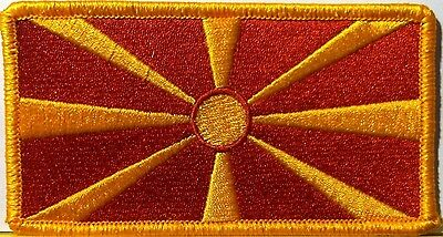 MACEDONIA Flag Embroidered Iron-On Patch  Military Emblem Gold Border