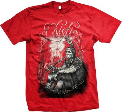 Chiefin - Indian Peace Pipe Native American Oversize Print -Mens T-shirt