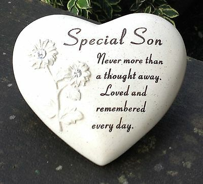 Memorial For Special Son Heart Shaped Grave Graveside Funeral Ornament