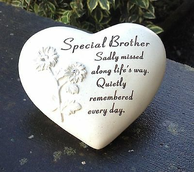 Memorial For Special Brother Heart Shaped Grave Ornament Funeral Tribute