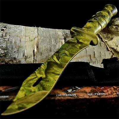 """12"""" CAMO TACTICAL HUNTING MACHETE SURVIVAL KNIFE Military Bowie FIXED BLADE New"""