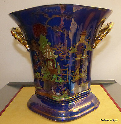 Carlton Ware large vase in  blue and gold oriental scenes