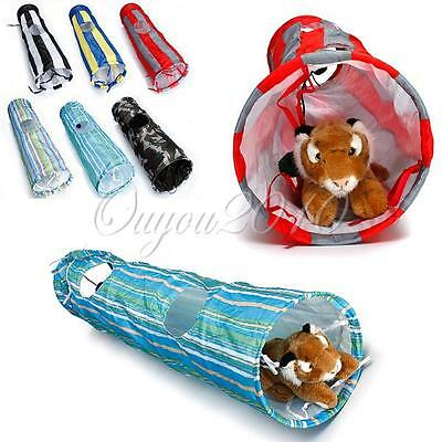 Pet Dog Cat Fold Exercise Fun Tunnel Cave Hole Rabbit Ferret Puppy Play Toy Ball