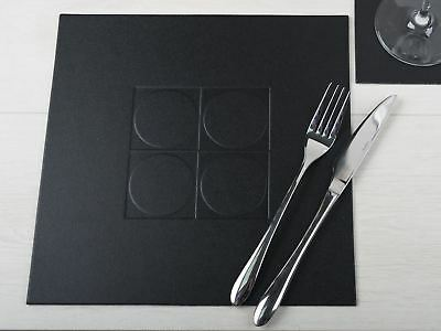Set of 4 BLACK Embossed SQUARE PLACEMATS Leatherboard Table Mats