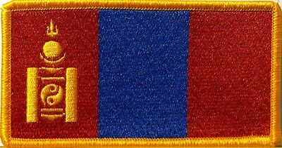 MONGOLIA Flag Embroidered Iron-On Patch Military Tactical Emblem Gold Border