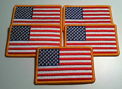 LOT OF 5 USA FLAG   BIKER Iron On Patch  AMERICAN Emblem Gold Merrow Border