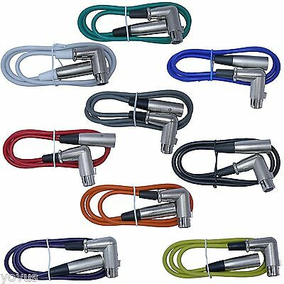 9pack colors Right Angle 6ft foot XLR female to straight male cables patch cords