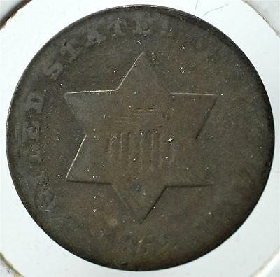 1852 Silver Three Cent, Trime, Ships for Free, 3CA38
