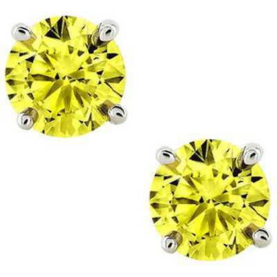14K Solid White Gold November Yellow Canary Round Shape Stud Earrings Push