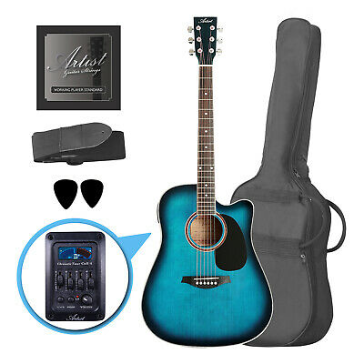 Artist LSPCEQTBB Beginner Acoustic Electric Guitar Pack - Blue - New