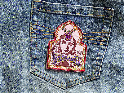 1x Bollywood - IRON ON applique Transfer embroidered rhinestones sequins
