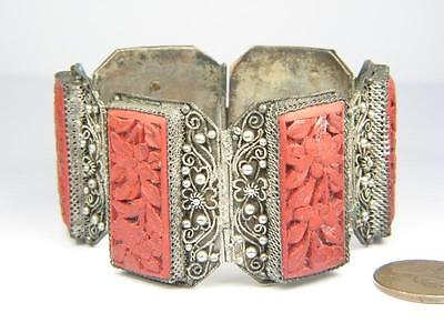 ANTIQUE CHINESE SILVER CARVED CINNABAR LACQUER BRACELET c1900's
