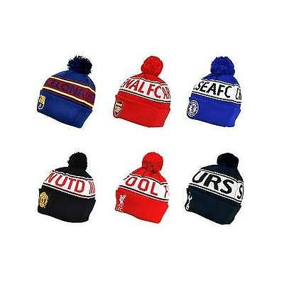 Football Team OFFICIAL Text Cuff Bobble Hats - Kids & Adults - Beanie Gift - NEW