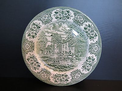 Green And White English Ironstone Dinner Plate