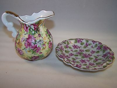 VINTAGE MIX LOT OF ROYAL CHINTZ 2179 FLORAL PITCHER AND BOWL