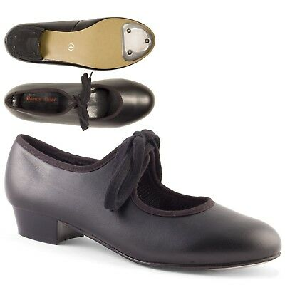 Black Low Heel Synthetic Tap Shoes with Toe Taps Girls Ladies by Dance Gear LHPB