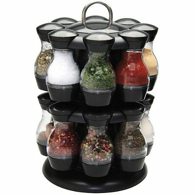 16 Jar Revolving Spice Carousel Rack Holder Stand With Carrying Handle Kitchen