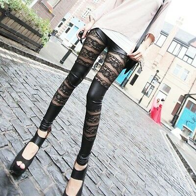 Women Girl Fashion Sexy Lace Faux Leather Stretchy Tights Leggings Pants Black