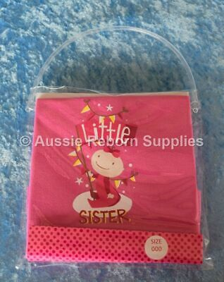Little Lil SISTER Girls T Shirt Size 0 New Baby Arrival Bright Bots NEW
